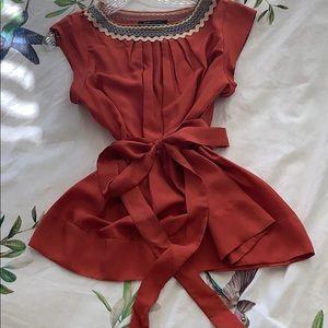 BCBG Max Azria silk orange red tunic style top